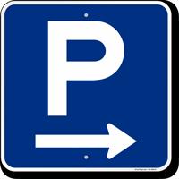 P Symbol Arrow Parking Sign
