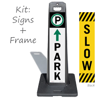 Park And Slow Double Sided Lotboss Portable Sign Kit