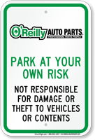 O Reilly Auto Parts Parking Signs