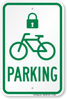 Bicycle Parking Sign with Lock Symbol