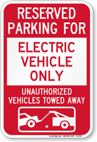Reserved Parking For Electric Vehicle Only Sign