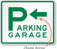 Parking Garage with Left Arrow Sign
