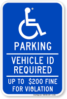 Parking Vehicle ID Required Handicapped Sign