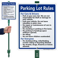 Parking Lot Rules For Cars Drivers Lawnboss Sign