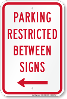 Parking Restricted Between Signs With Left Arrow Symbol