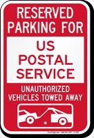 Reserved Parking For US Postal Service Vehicles Sign