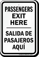 Passengers Exit Here Bilingual Drop Off Sign