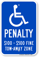 Tow Away Zone Handicapped Sign
