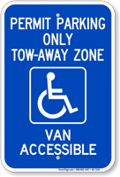 Georgia Accessible Permit Parking, Tow-Away Zone Sign