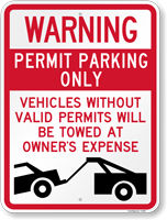 Warning Permit Parking Towed Sign
