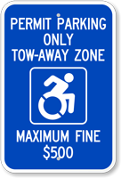 Permit Parking Tow-Away Zone Maximum Fine $500 Sign