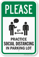 Please: Practice Social Distancing in Parking Lot