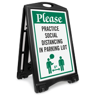 Please: Practice Social Distancing in Parking Lot Sidewalk Sign