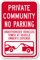 Private Community, No Parking Sign
