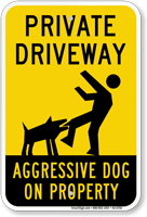 Private Driveway, Aggressive Dog On Property Sign