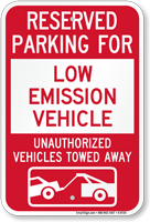 Reserved Parking For Low Emission Vehicle Sign