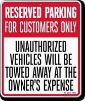 Florida Reserved Customer Parking Tow-Away Sign
