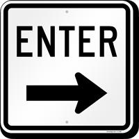 Enter (arrow) Aluminum Parking Sign