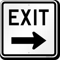 Exit (arrow) Aluminum Parking Sign