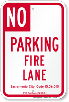 Sacramento No Parking Fire Lane Sign