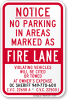 Orange County Notice No Parking Fire Lane Sign