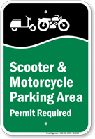 Scooter And Motorcycle Parking Area Permit Required Sign
