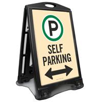Self Parking With Bidirectional Arrow Sidewalk Sign