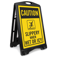 Slippery When Wet Or Icy Sidewalk Sign Kit