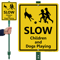 Slow Children And Dogs Playing Lawnboss Sign