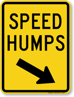 Speed Humps Sign with Down Arrow Pointing Right