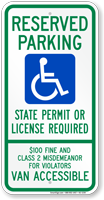 South Dakota Reserved Parking, Van Accessible Sign