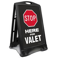 Stop Here For Valet Sidewalk Sign
