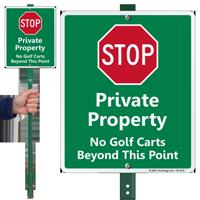 Stop No Golf Carts LawnBoss Sign