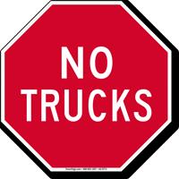Stop, No Trucks Sign