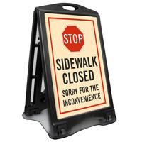 STOP Sidewalk Closed A-Frame Portable Sidewalk Sign Kit