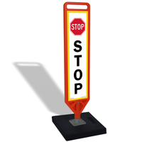 Stop With Symbol FlexPost Portable Paddle Sign Kit