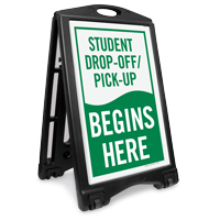 Student Drop-Off Pick-Up Begins Portable Sidewalk Sign