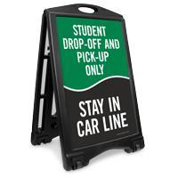Student Drop-Off Pick-Up Only Portable Sidewalk Sign