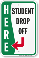 Student Drop-Off towards Left Sign