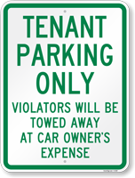 Tenant Parking Violators Towed Sign