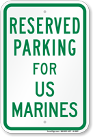 Parking Space Reserved For US Marines Sign