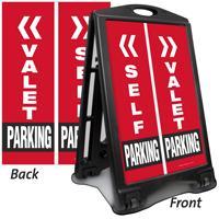 Valet Or Self Parking Sidewalk Sign