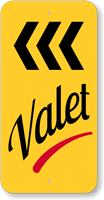 Valet Parking Left Arrow Sign