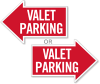 Valet Parking, Right Die-Cut Directional Sign