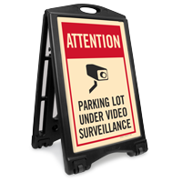 Parking Lot Under Surveillance Sidewalk Sign