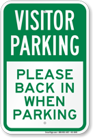Visitor Back In When Parking Sign