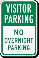 Visitor Parking No Overnight Parking Sign
