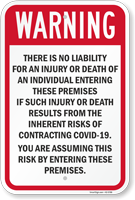 Warning You Accept Risks of Contracting Flu On Premises Sign