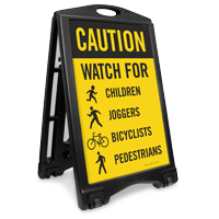 Watch For Children Bicyclists Pedestrians Sidewalk Sign