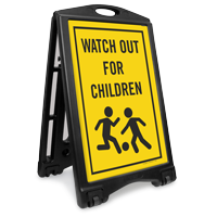 Watch Out For Children Portable Sidewalk Sign Kit